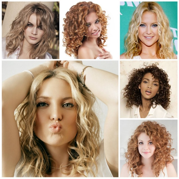 six images in a collage, showing different curly haircuts, messy curls with side bangs, smooth blonde curls with middle part, ringlets in different colors