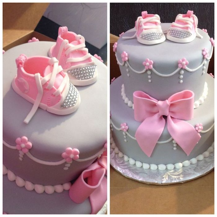 bejeweled pair of tiny lace-up sneakers, made from pink and white fondant, topping a cake in light lavender, baby shower cakes for girls, decorated with pink and white details, and a large pink fondant bow