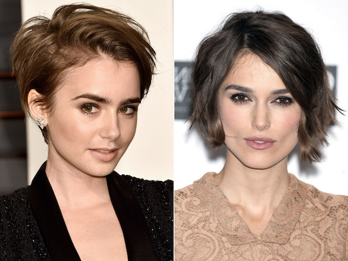 celebrities with hairstyles for fine thin hair, lily collins with a swept over, brunette pixie cut, and side part, and keira knightley with side parted wavy brunette bob