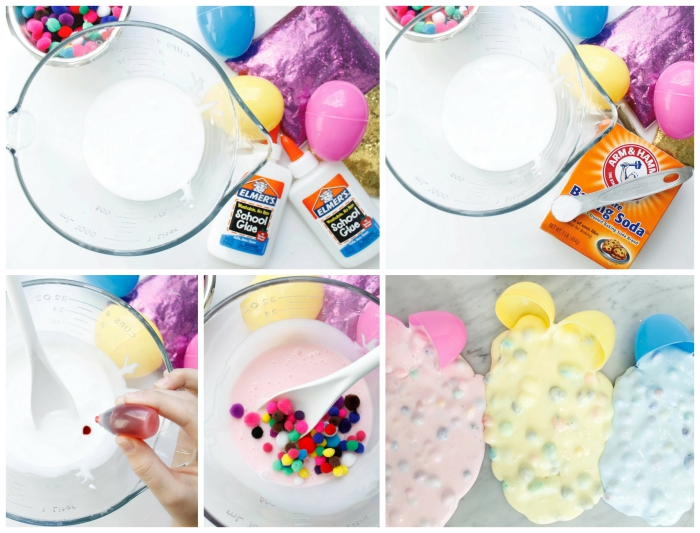 easter slime idea, mixing glue and baking soda, adding coloring and multicolored felt beads, how to make slime with borax, pastel pink yellow and blue goo, pouring from plastic eggs