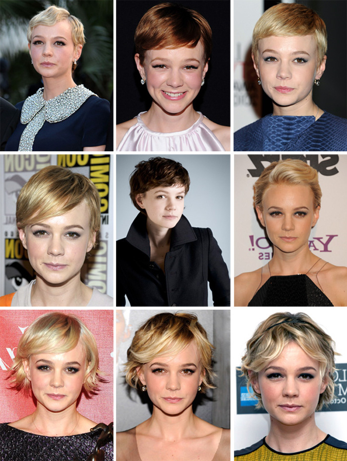 carey mulligan with nine different pixie cuts, 1920's inspired and modern, smooth and textured, blonde and brunette, wavy and straight