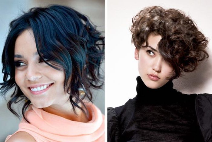 very short curly hair with bangs, worn by woman in black turtleneck top, with subtle make up, and one eye hidden by a long strand of hair, smiling young woman, with short wavy black hair