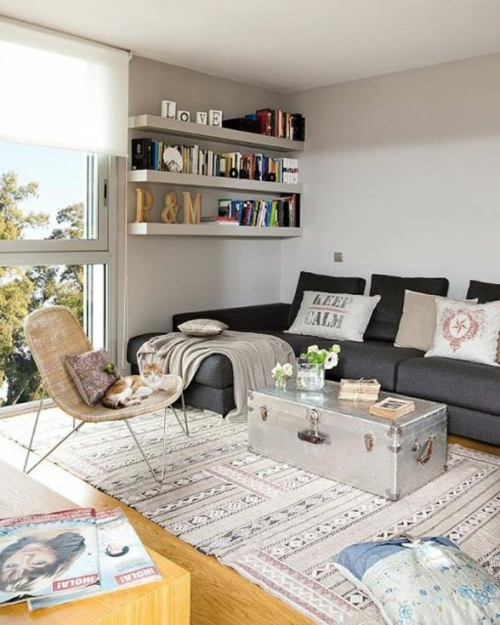 silver-colored metal trunk, converted into a coffee table, near a dark grey corner sofa, room setup ideas, bookshelves and a wicker chair