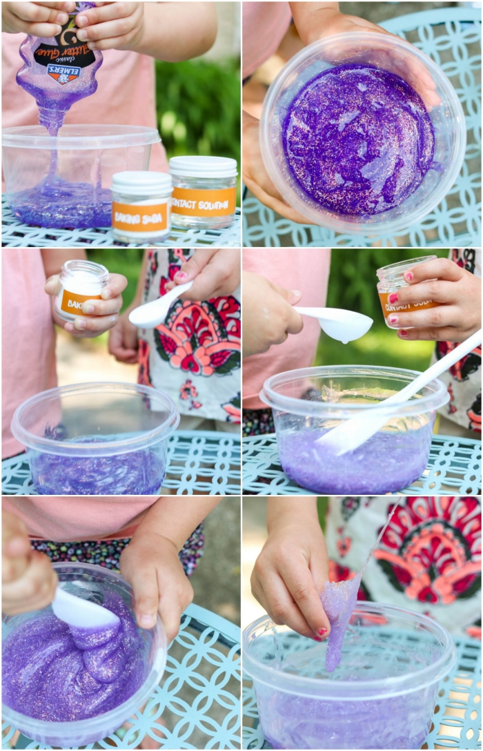 fluffy slime, young child mixing ingredients into a clear plastic bowl, baking soda and contact lens solution, purple glittery goo