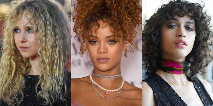 three women with different kinds of curly hair, ash blonde ringlets, caramel curly top pony tail, cute easy hairstyles, dark brunette long bob, with curly bangs
