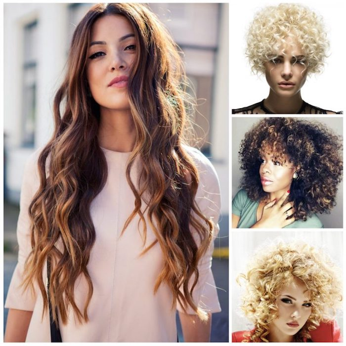 four different cute easy hairstyles, for curly and wavy hair, natural afro with highlights, platinum blonde ringlets, retro curls and long beach waves