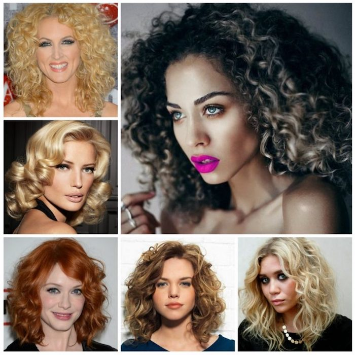 fuchsia pink lipstick, worn by blue-eyed woman, with brunette curly hair, and blonde highlights, collage of six images, with different styles for curly hair