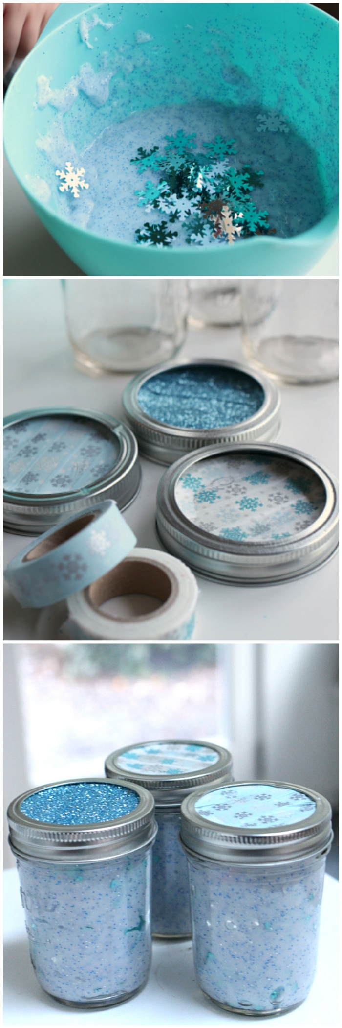 frosty blue slime, with glitter and snowflake-shaped confetti, in different shades of blue, mixed in a turquoise plastic bowl, and poured into three jars