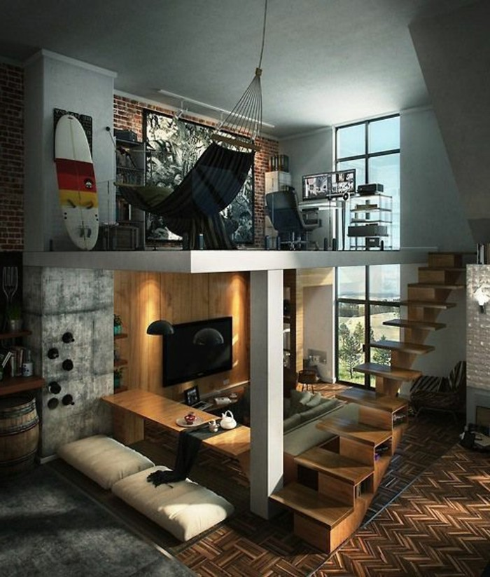 loft studio flat on two levels, with industrial style details, and a brick wall, home decor inspiration, wooden panelling on the lower level, a hammock and a surfing board, on the upper floor