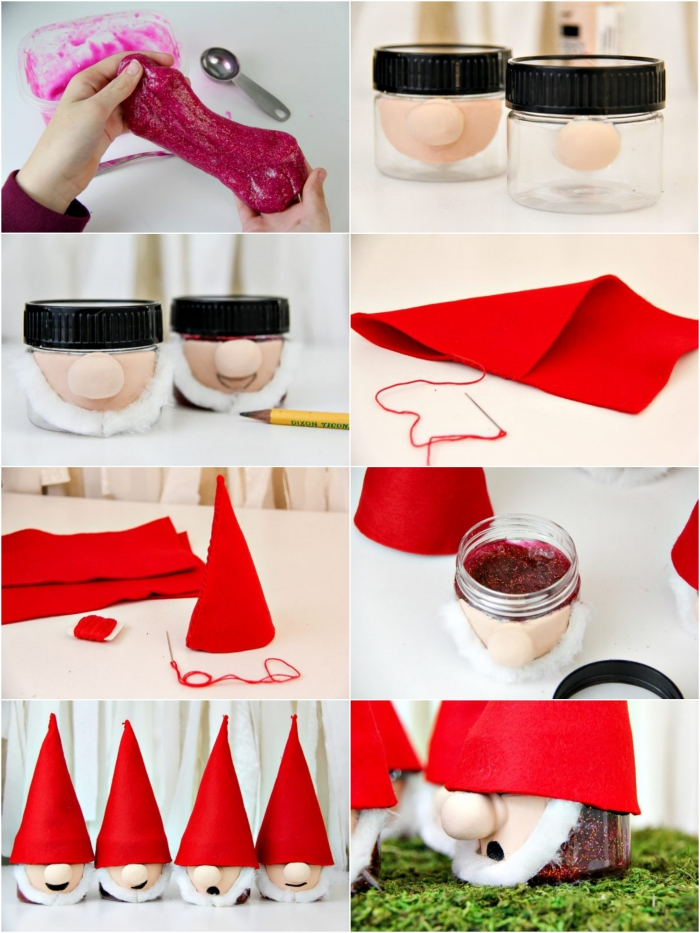 gnome decorations made from little jars, decorated with fabric faces, white cotton beards, and red pointy hats, filled with wine red slime