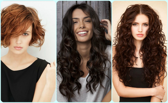 examples of short and long, wavy and curly, cute easy hairstyles, woman with auburn bob, and side bangs covering her face, two brunettes with long, curly hair and middle part