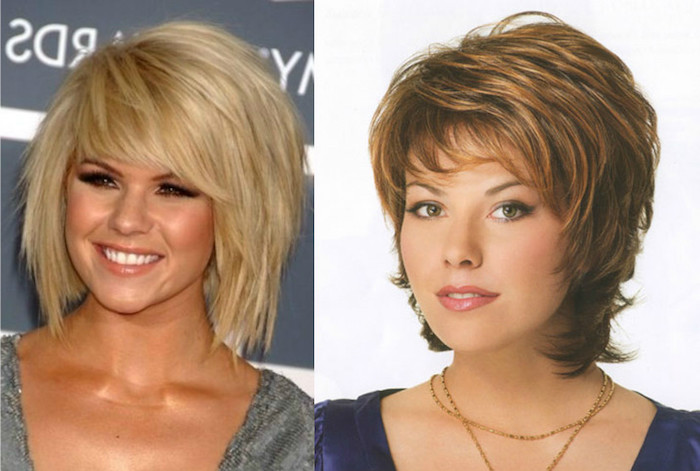 voluminous layered and textured, choppy and shaggy bob, with side bangs, worn by smiling young woman, easy short hairstyles, next image shows retro photo, of woman in layered short brunette do, with honey blonde highlights
