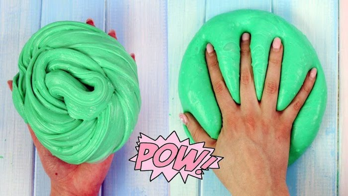 the word pow, in a pink speech bubble, on top of two images of green slime, a twisted piece held in someone's hand, and a smooth pile, with a hand on top of it