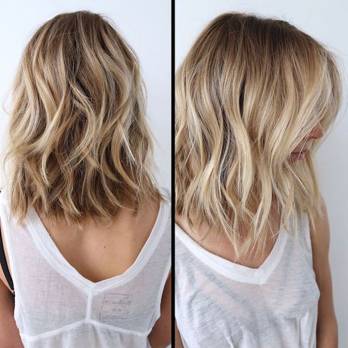 two images showing a woman with blonde hair, with waves and light blonde balayage, medium length hairstyles for thin hair, white sheer tank top, over a black bustier
