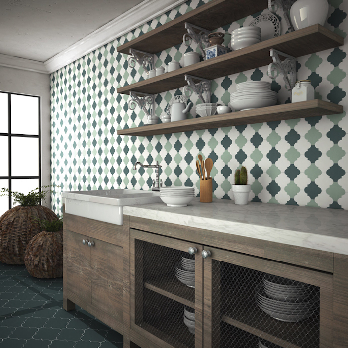 minty light green, white and dark green, arabesque tile backsplash, inside a kitchen with brown wooden cabinets, and dark blue floor