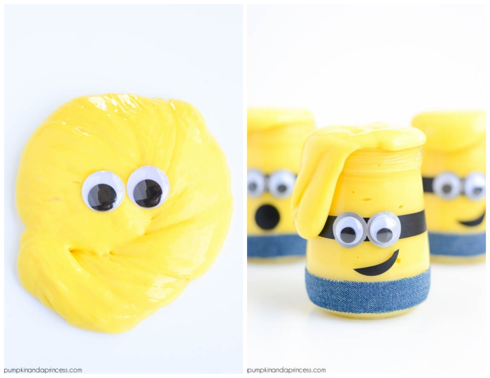 minions goop in yellow, with googly eye stickers, how to make slime with glue, three clear jars, filled with slime, and decorated to look like minions