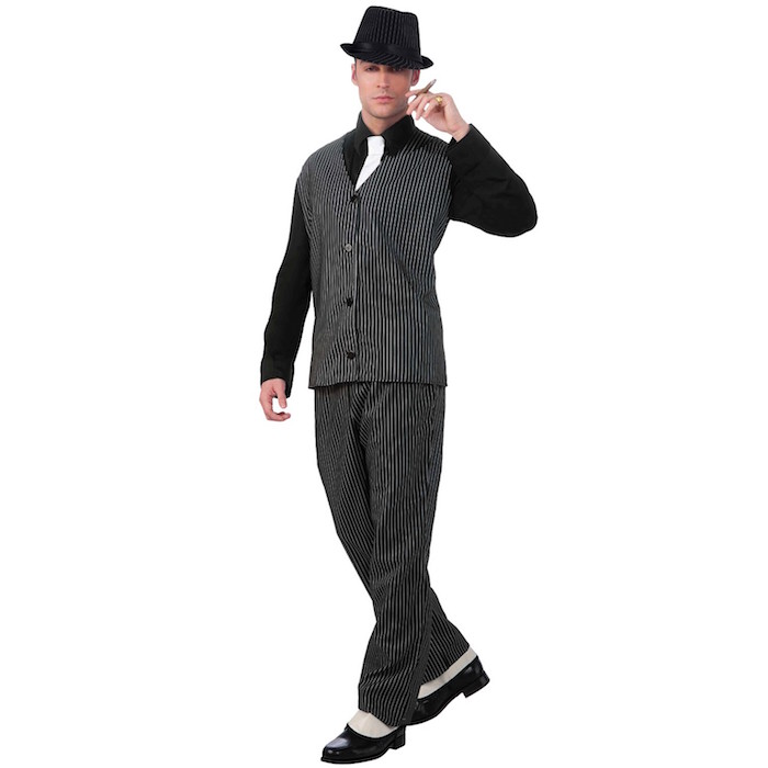 party costume of a 1920s gangster, black and white pinstripe trousers, and matching vest, black shirt and a white tie, 20s mens fashion, a fedora and retro shoes
