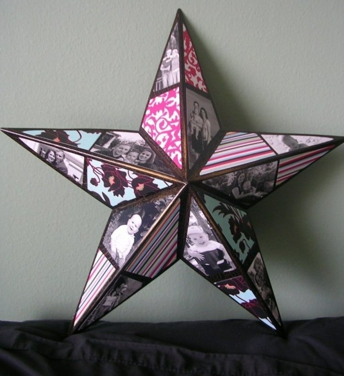star shape made from card, decorated with colorful patterned paper, and black and white family photos, homemade gift ideas, 3D effect ornament