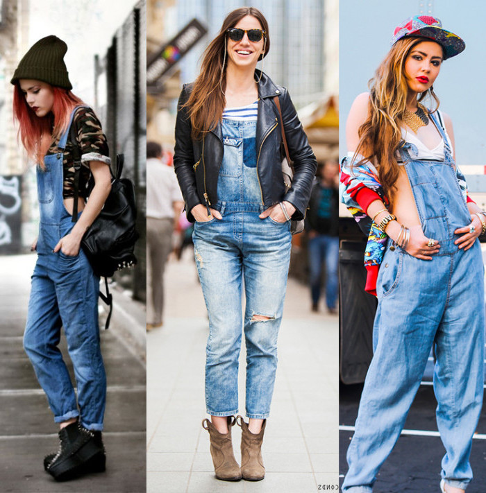 suggestions on how to wear 90s overalls, cropped camouflage t-shirt, black leather jacket, multicolored jacket and baseball cap