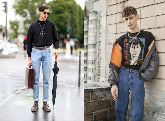 two images of young men, one is wearing pale blue jeans, and a baggy black sweater, 90s outfit ideas, the other is wearing a victor tsoi t-shirt, retro jeans and a grey bomber jacket