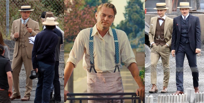 images from the set of the great gatsby, leonardo di caprio, tobey maguire and others, dressed in great gatsby costumes, three piece suits, trousers with suspenders, straw flattop hats