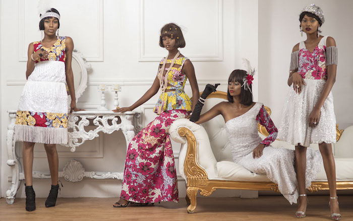 gatsby inspired dresses, four black female models, wearing white and multicolored gowns, decorated with 1920s details, and bold floral motifs