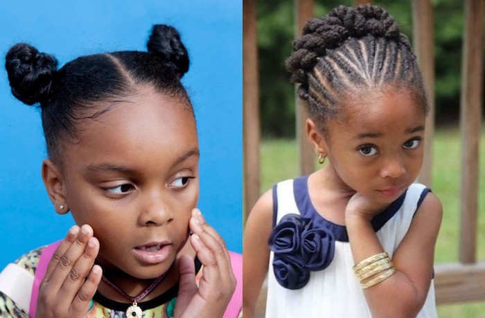 cute girls hairstyles, two little black girls, one with two small symmetrical buns, and the other with cornrows, ending in a bun