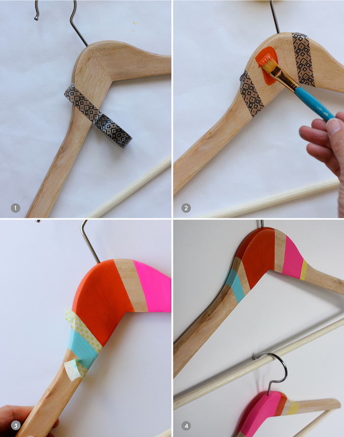photo collage of step by step diy tutorial, how to decorate wooden hangers, creative diy christmas gifts, painted in different colors