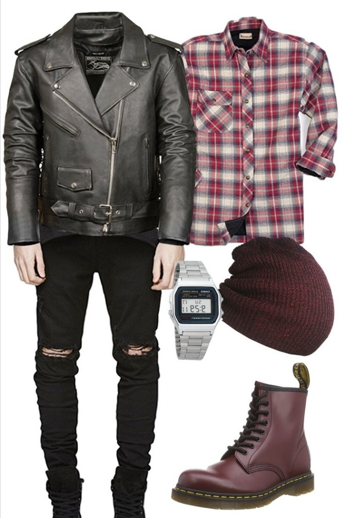 purple beanie hat, wine red dr. marten boots, red flannel shirt, black leather biker jacket, torn black jeans