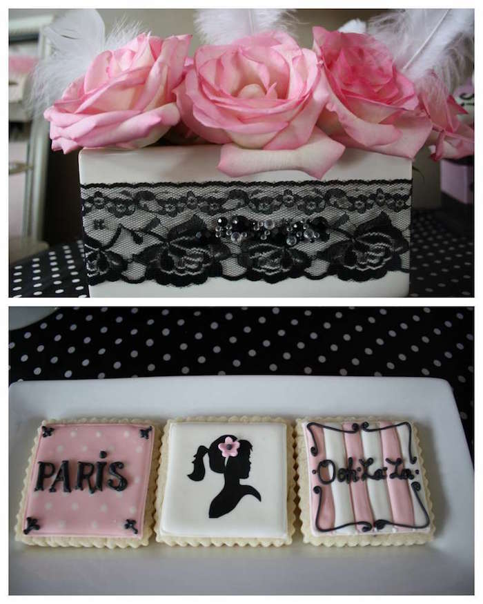 square cookies with black, pink and white frosting, depicting the words paris and ooh la la, and an image of a woman's silhouette, 60th birthday party ideas for mom, box with lace, containing three pink roses