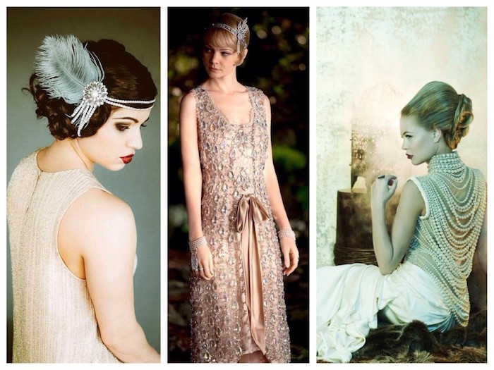 collage showing three images of women, dressed in 1920s attire, cream embroidered dress, worn with a feathered pearl headband, white dress with pearls, carey mulligan with a pink flapper dress, how to dress up for a roaring 20s party
