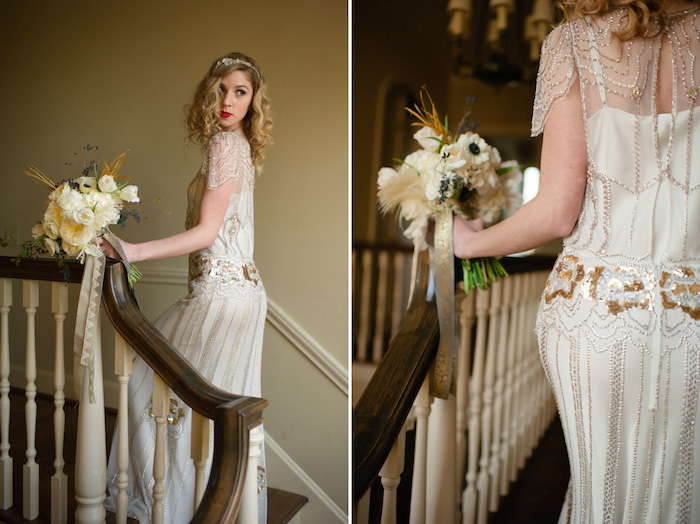 wedding gown in 1920s flapper style, featuring gold embroidery, and short sheer sleeves, great gatsby outfits, on a blonde young woman