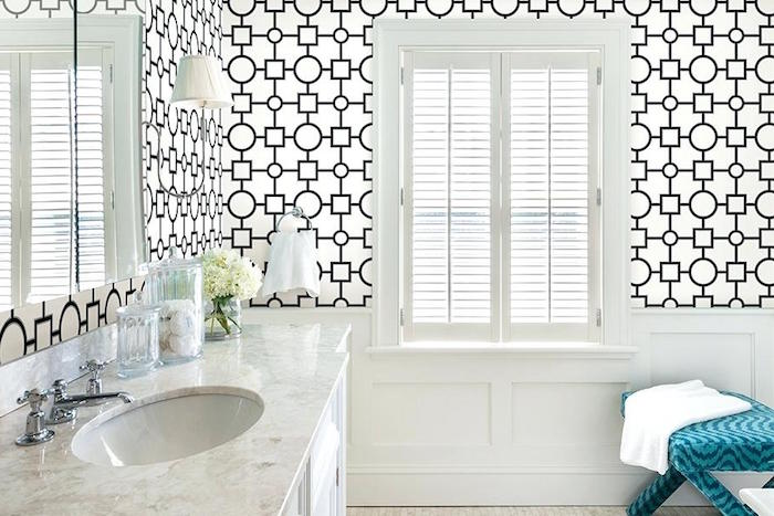geometric patterns in black, on a white wallpaper, decorating the walls of a bright room in white, bathroom decorating ideas on a budget, marble counter with an inbuilt sink