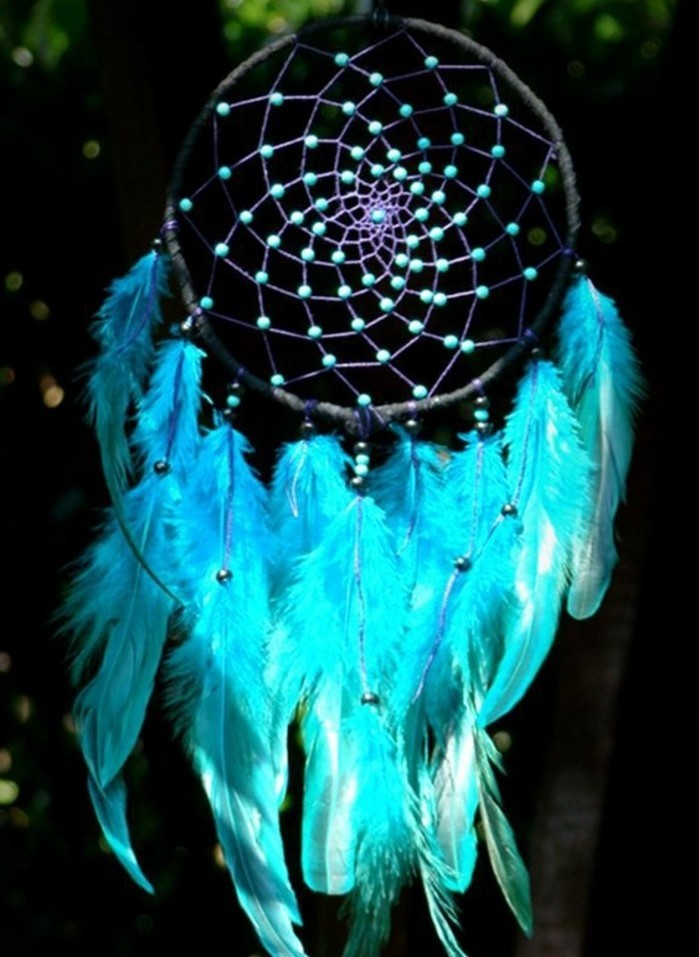 vivid turquoise feathers, attached to a dreamcatcher, decorated with many teal bids, dreamcatcher designs