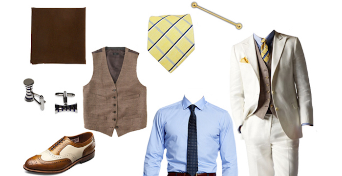 vest in beige, patterned yellow tie, dark brown pocket handkerchief, two-tone oxford shoes, cufflinks and a blue shirt, 20s mens fashion, white and beige suit