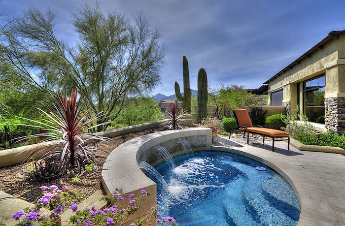 purple flowers and cacti, in a yard with a small blue pool, orange sun bed, and a house in the background