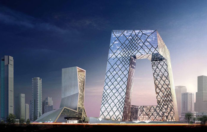 postmodern architecture, the cctv building in beijing, large structure made of glass and metal, with a hollow shape in the middle