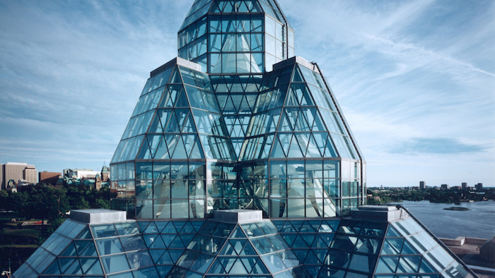 dome-like structures made of glass, and supported by metal frames, postmodernism examples, canadian national gallery, glass roof close up
