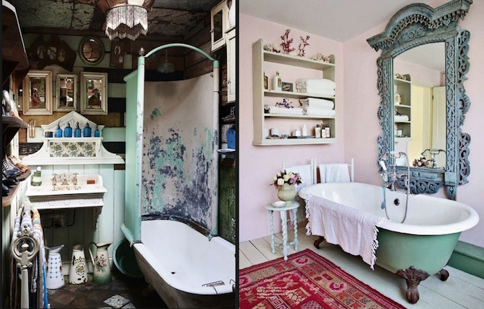 images of boho bathrooms, dark room with lots of vintage decorations, and a room with pale pink walls, containing a turquoise bath, a large ornate mirror, and diy bathroom décor