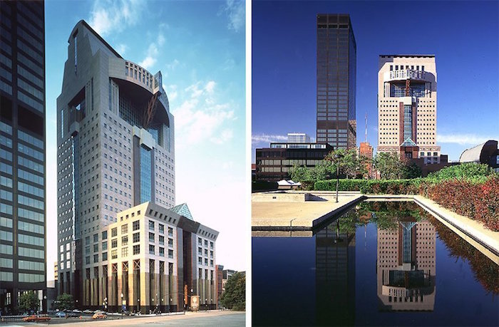 side by side images of the humana tower in kentucky, seen from up close, and further away, rectangular and oval elements, and tall columns