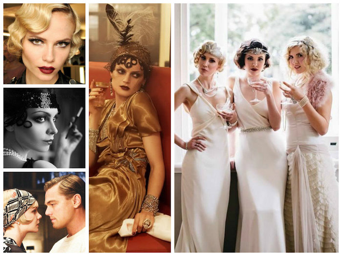 satin gatsby themed dress in brown, on a woman with flapper headdress, three young women in long 1920s gowns, close ups of models and actors in vintage makeup