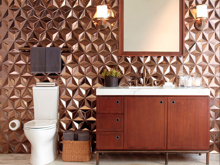 Bathroom Wall Decor Ideas U2013 We Love These Amazing, 3D Effect Copper Tiles!