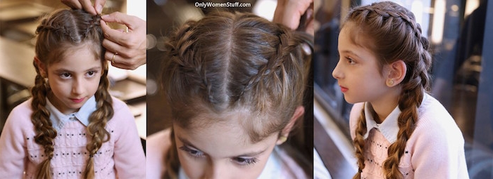 weaving two braids, on ether side of a little, brunette girl's head, hairstyle seen from three different angles