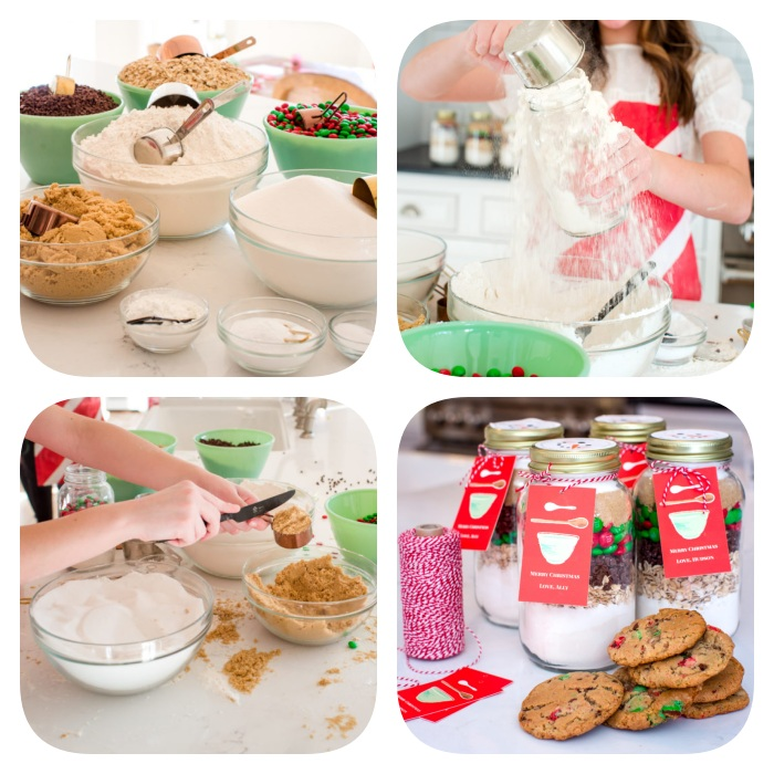 photo collage of step by step diy tutorial, homemade christmas gifts, how to make cookies, deconstructed cookies in glass jars