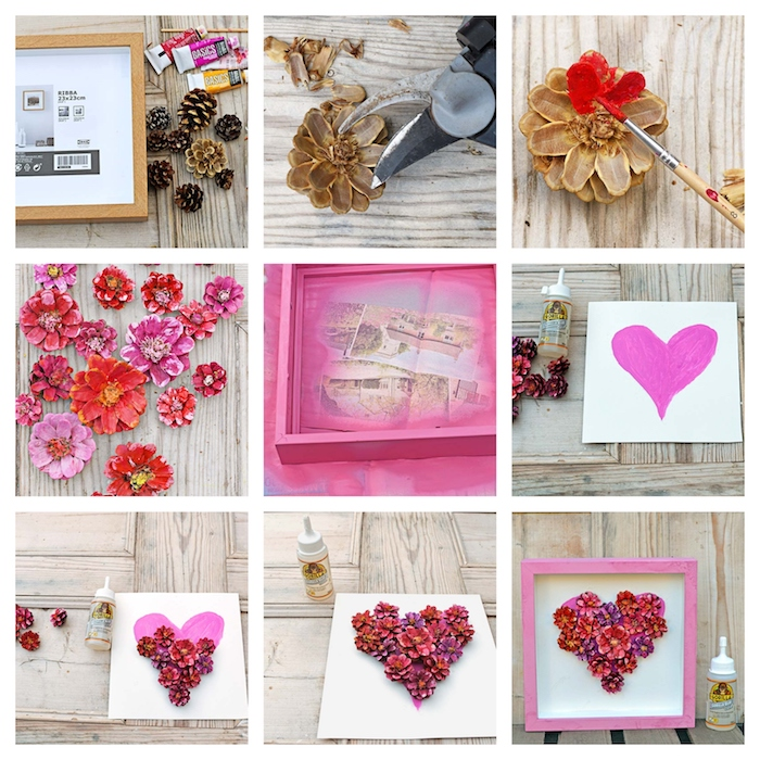 creative diy christmas gifts, photo collage of step by step diy tutorial, heart shaped dried flowers inside a pink wooden frame