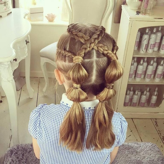 knot-detail pigtails, and criss-crossing braids, on the honey blonde head, of a small child, girl haircuts, checkered blue and white dress, with an embroidered white collar