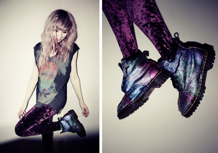 galaxy colored dr. marten's boots, worn with purple, crushed velvet leggings, and an oversized graphic tee