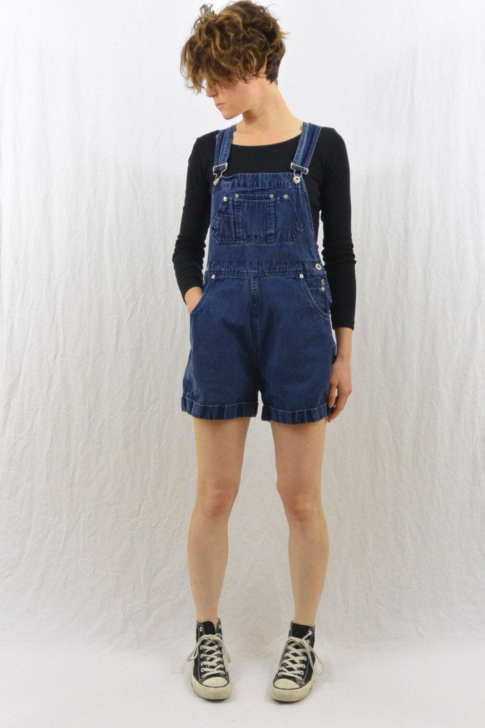inky blue denim, retro 90s overalls, worn with vintage converse sneakers, and a black jumper