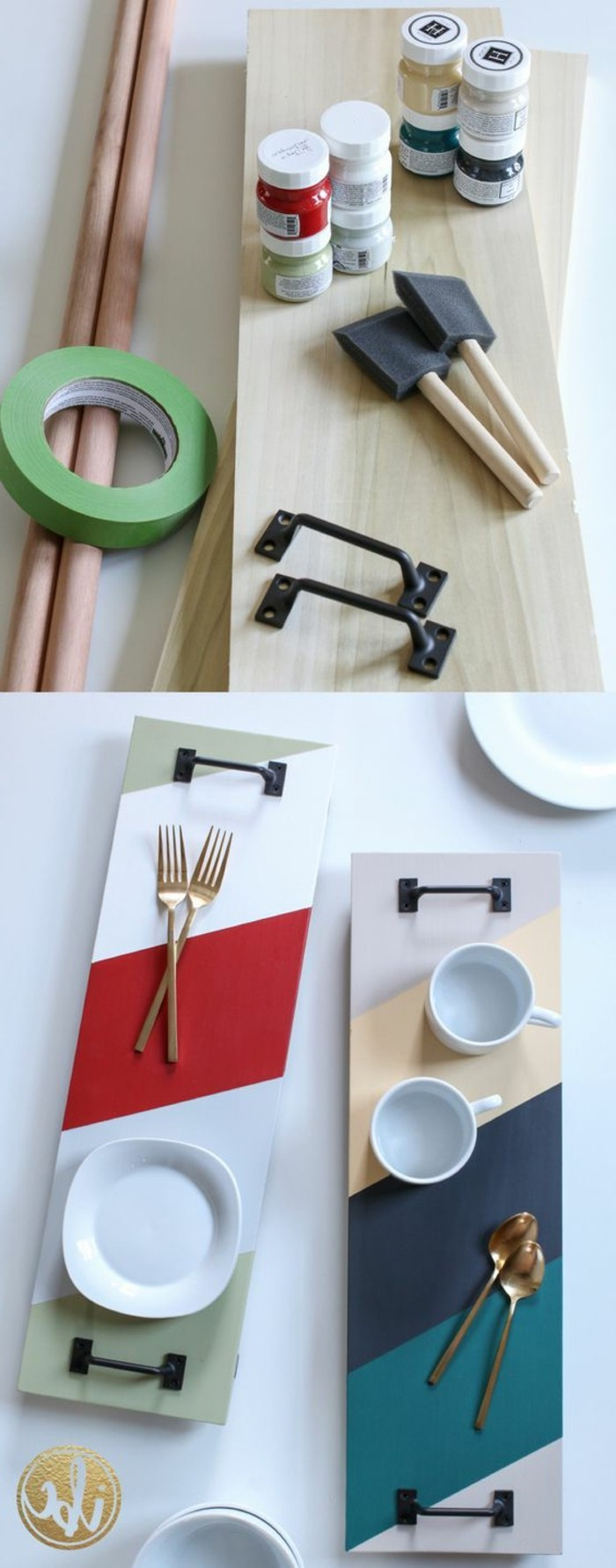 serving trays made from pieces of wood, with black metal handles, and multicolored stripes of paint, cute gift ideas, images showing the needed materials