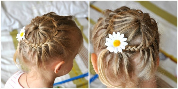 circular small braid, on top a blonde child's head, decorated with a daisy hair ornament, seen from above